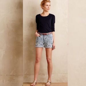 Anthropologie Pilcro Splatter Paint Denim Shorts